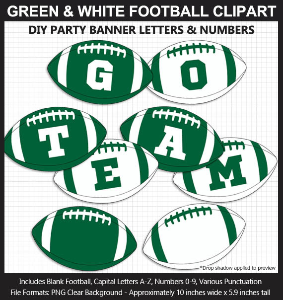 Green and White Football Alphabet Banner Clip Art - Letters, Numbers, Superbowl, DIY Football Party