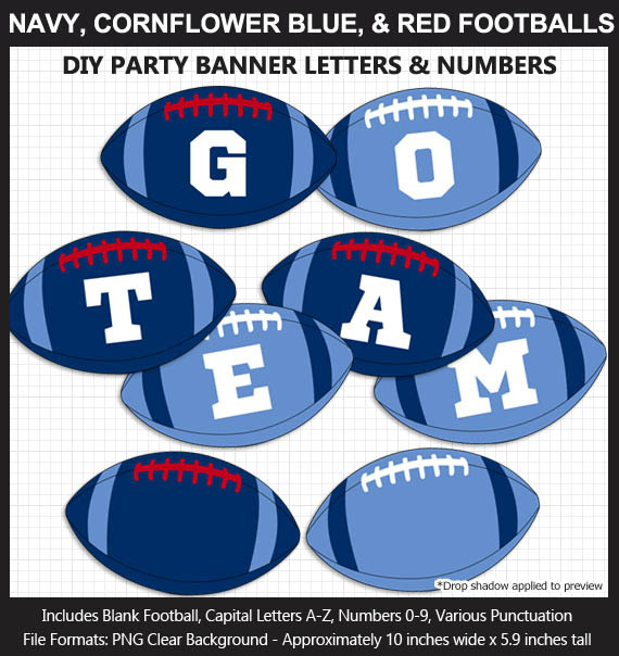 Navy Blue, Cornflower Blue, and Red Football Alphabet Banner Clip Art - Letters, Numbers, Superbowl