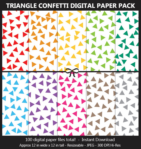 Triangle Confetti Digital Paper Pack - 100 Colors, Birthday Party, Scrapbook Paper, Background