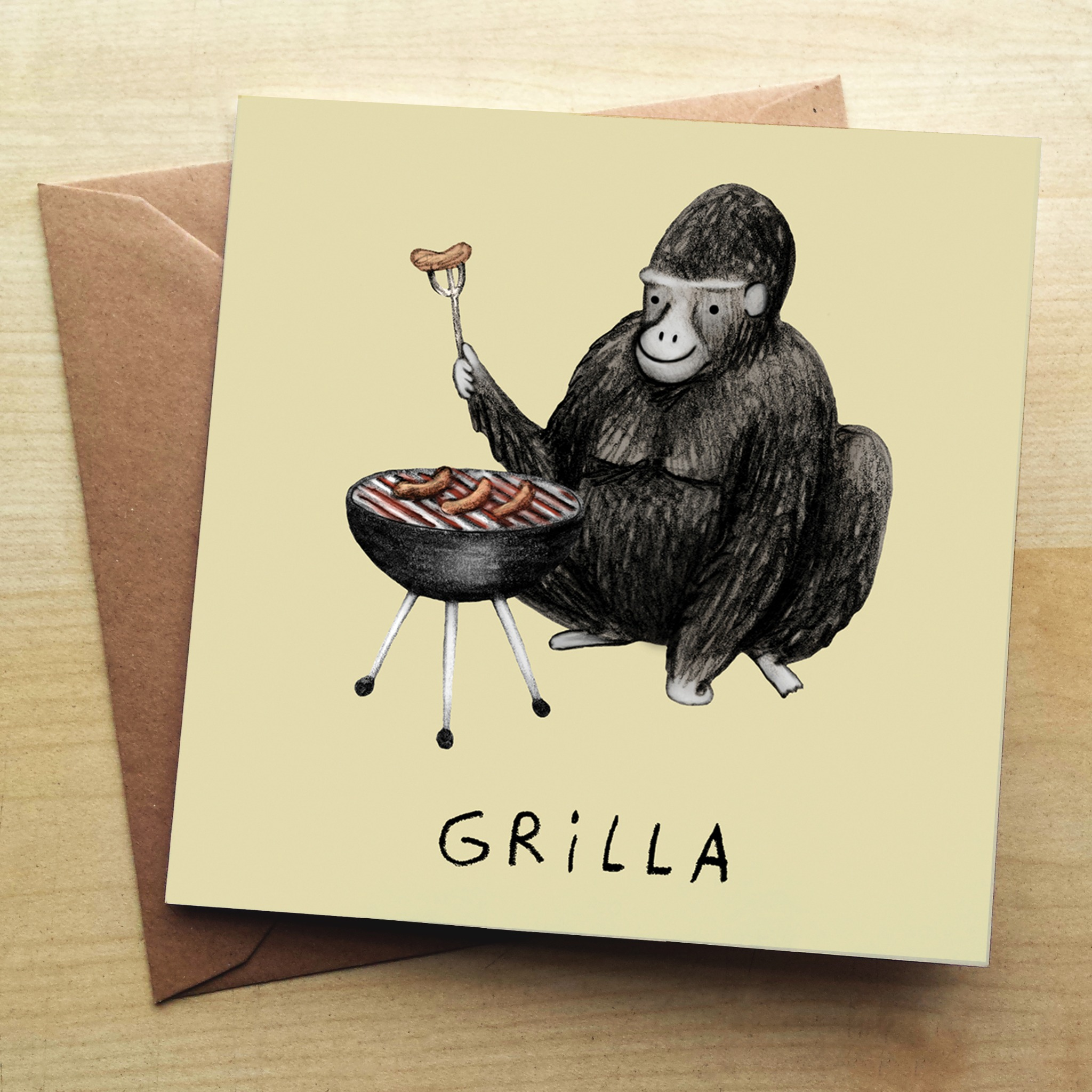 Wraptious Grilla Greetings Card