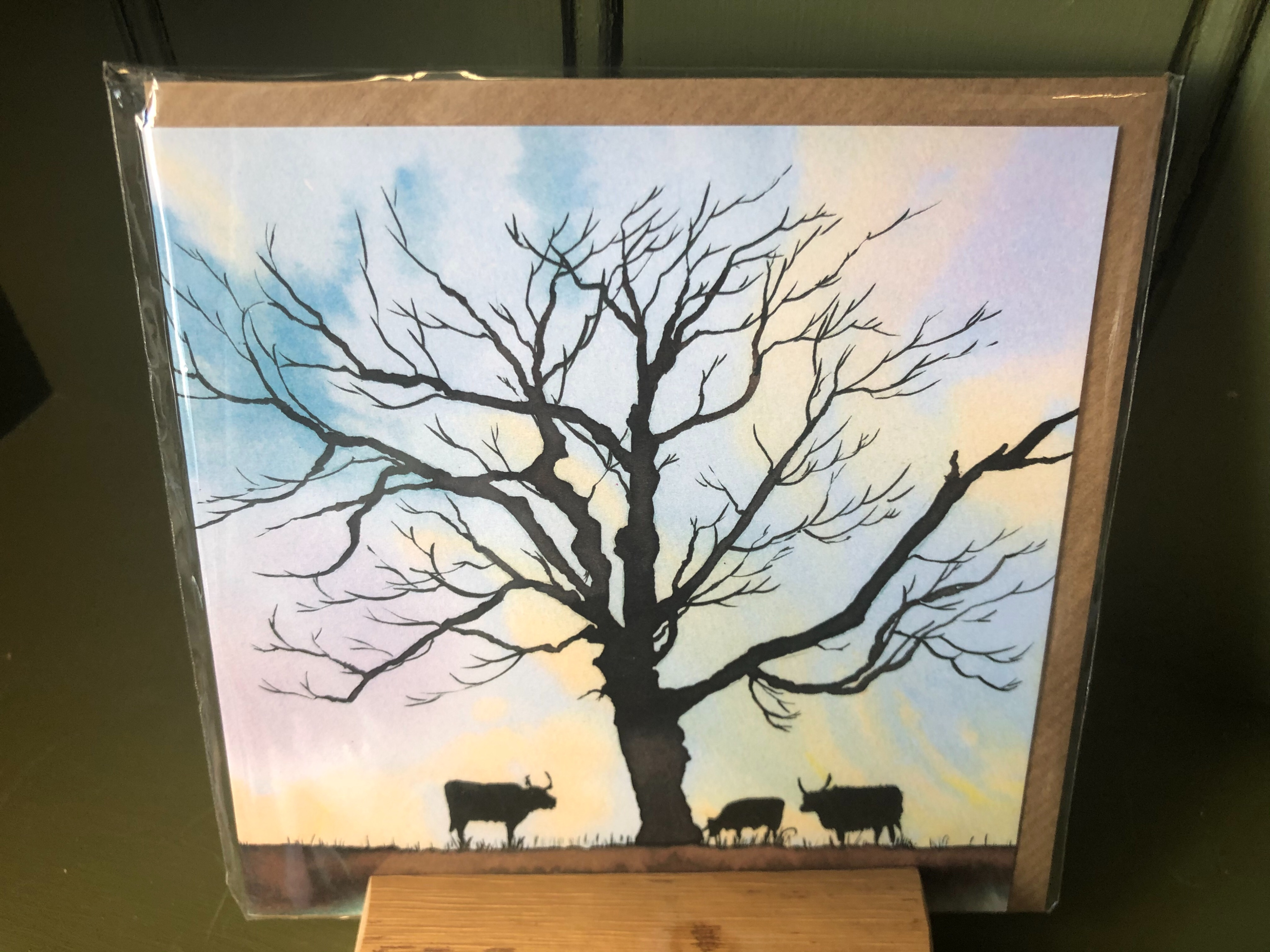 Squiggly Sue Cows and Tree Greeting Card