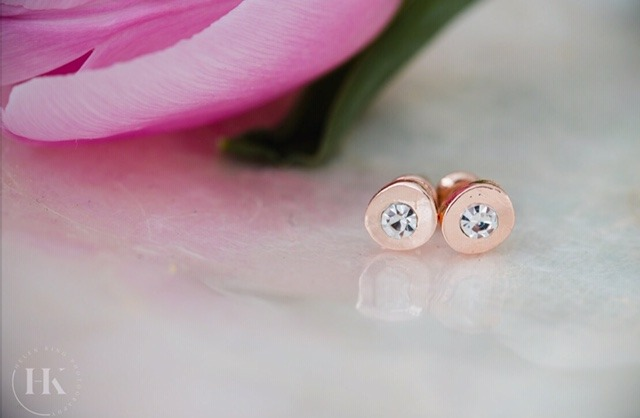 Just Jules Rose Gold Finish And Diamante Earrings
