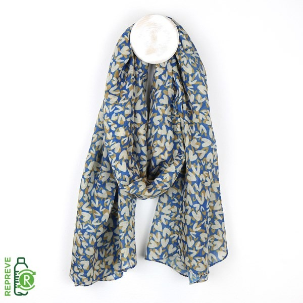 Flossie & Fred Blue Recycled Scarf With Layered Multi Heart Print