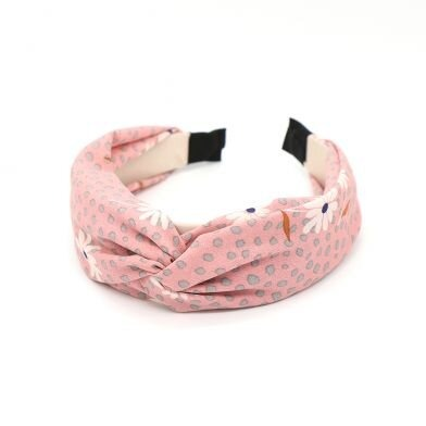 Just Jules Pink Headband With Grey Dots And White Flowers