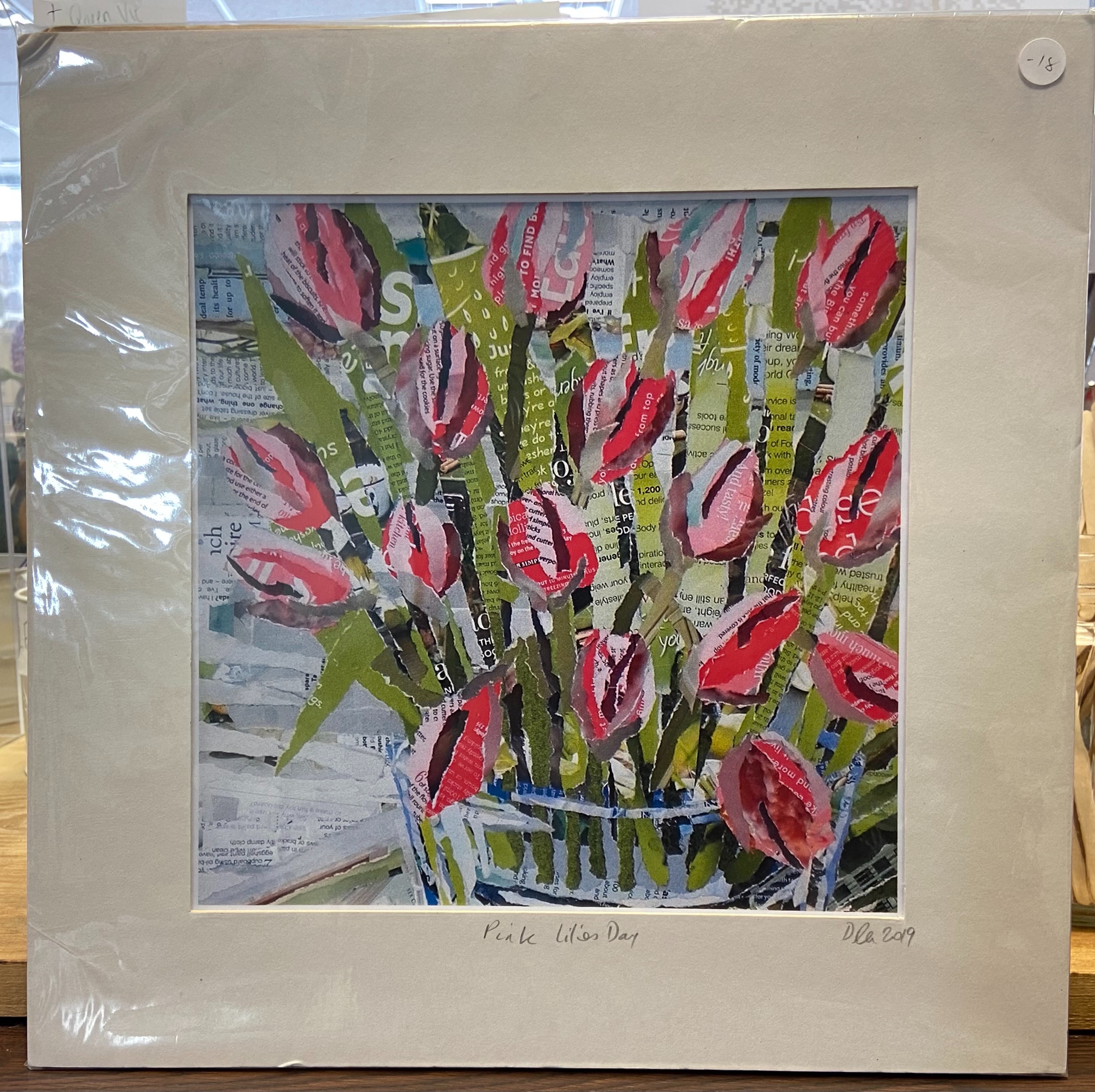 """Danielle Vaughan Mixed Media """"Pink Lilies Day"""" Mounted Art Print 12x12"""