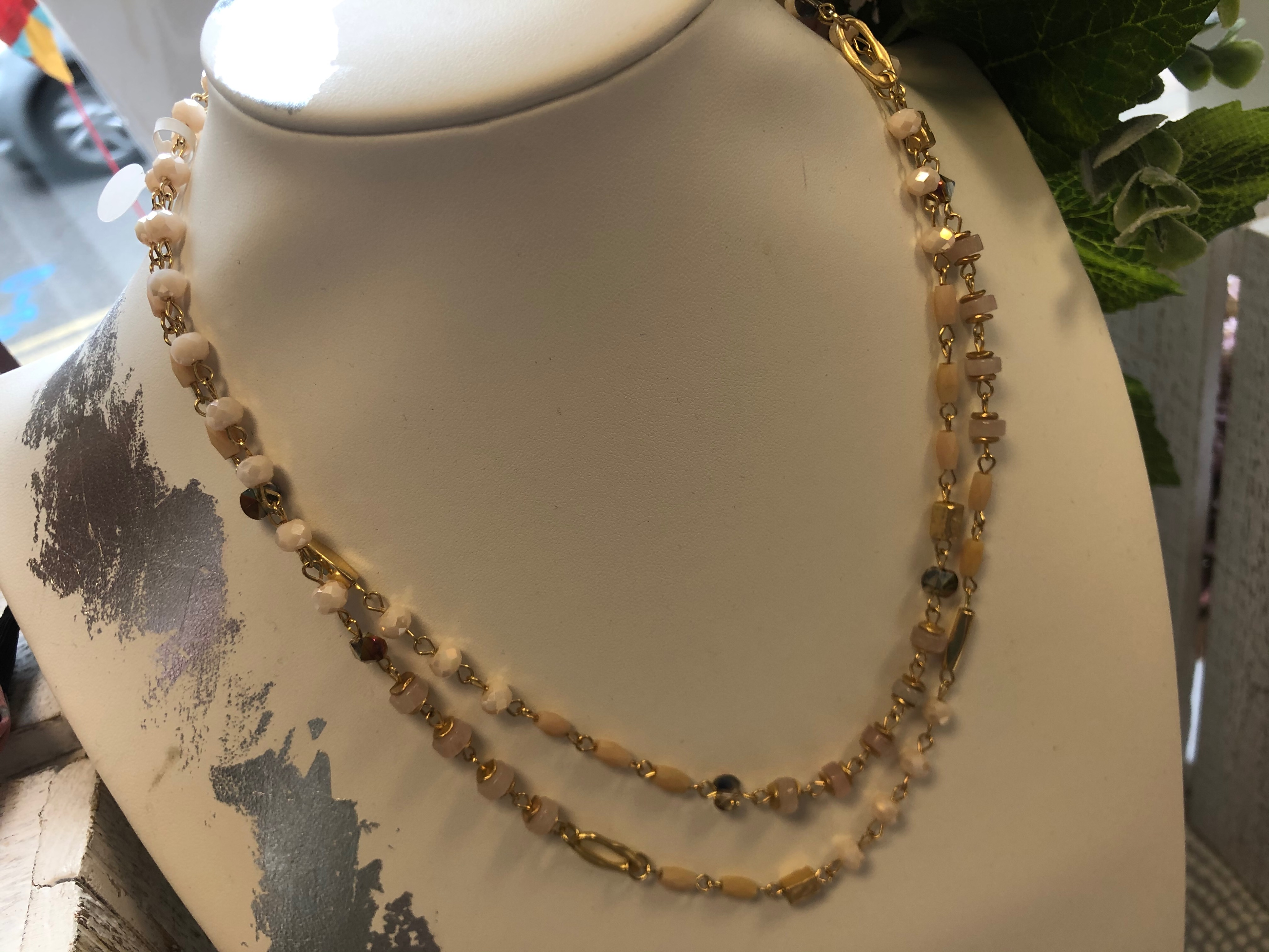 Just Jules Ivory and Beige Beaded Necklace