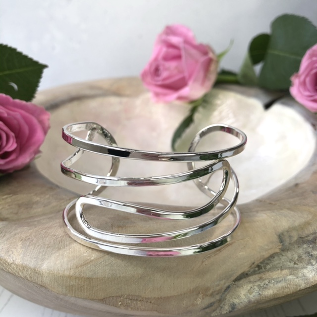 Just Jules Silver Plated Curved Open Wire Bangle