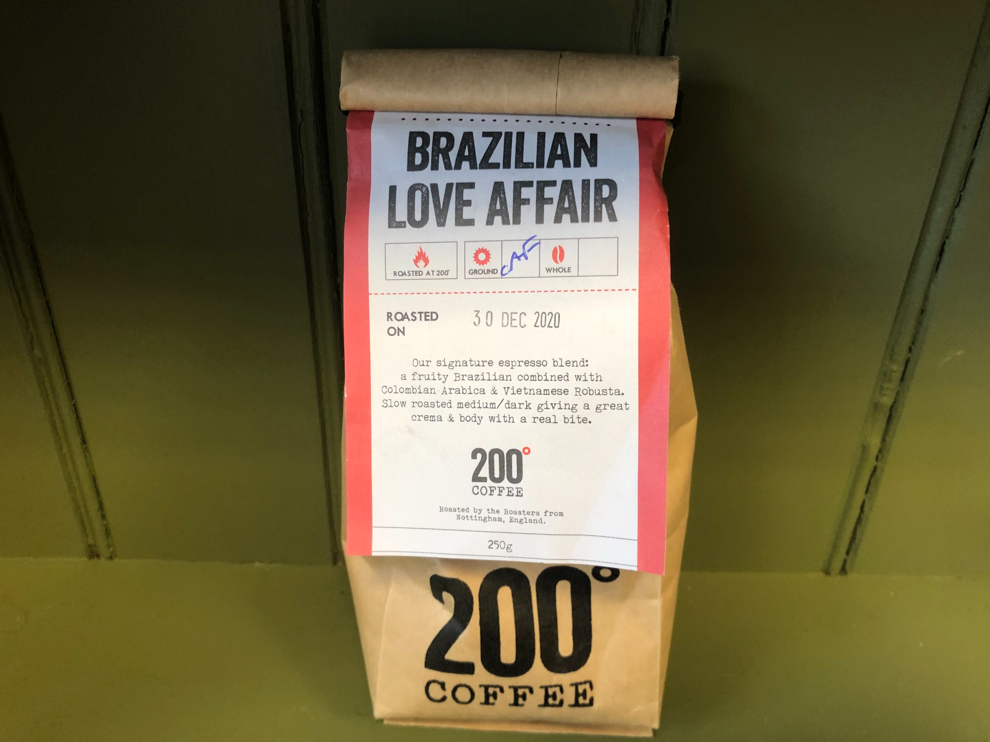 200 Degrees Coffee Brazilian Love Affair Ground Coffee for Cafetiere 250g Bag