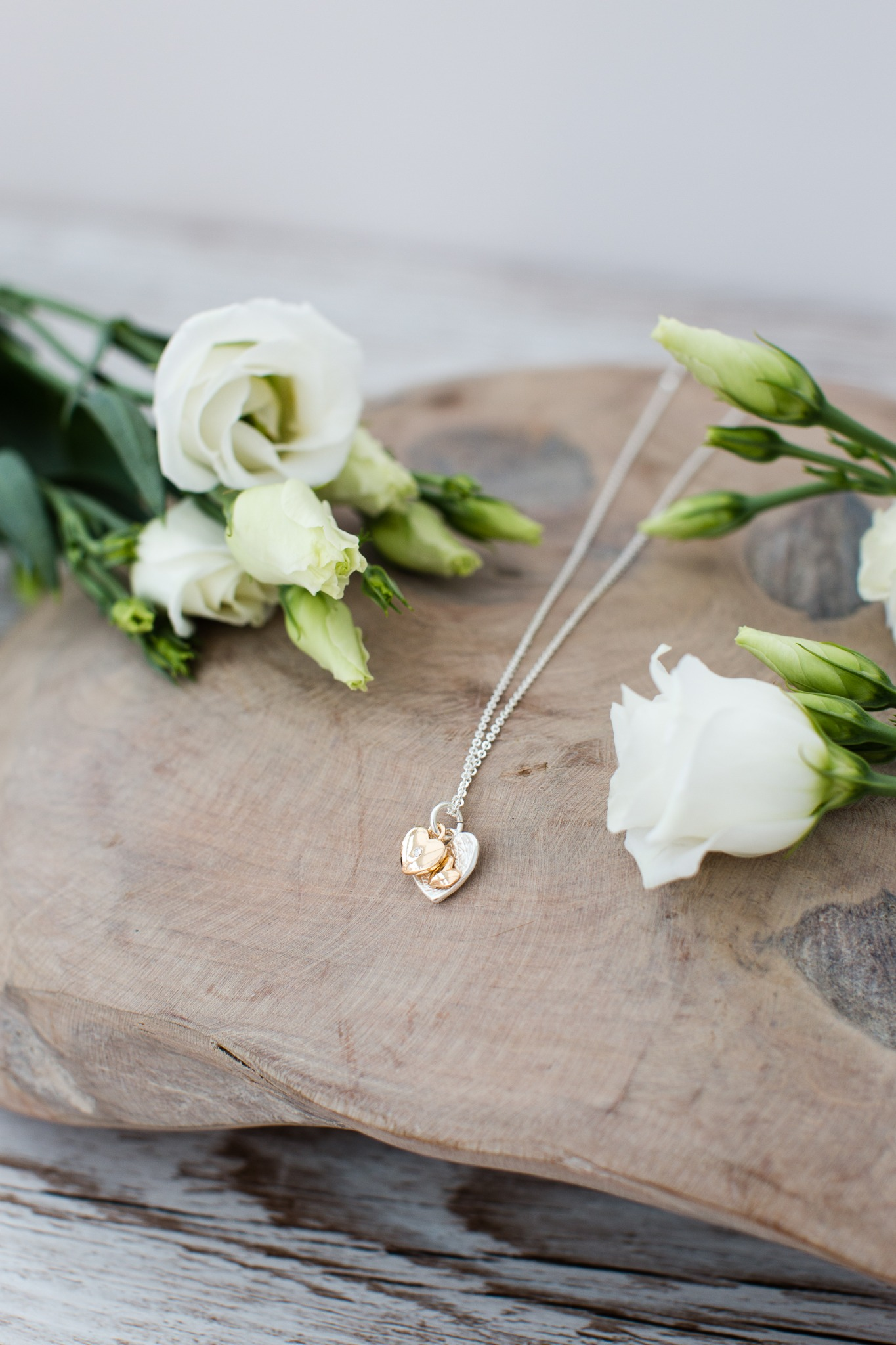 Just Jules Double Heart Necklace In Silver And Gold Plated Finish