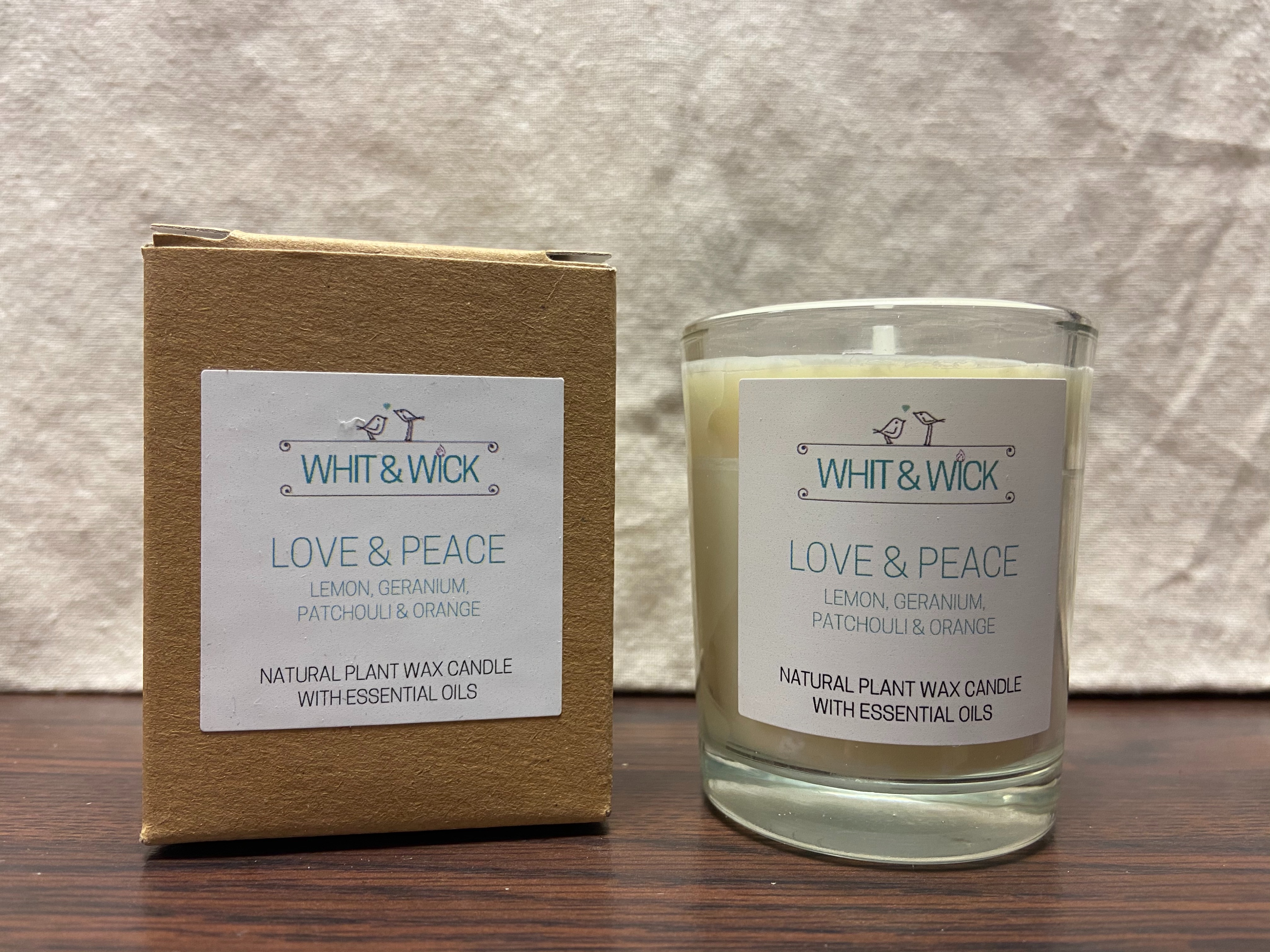 Whit & Wick Love and Peace Small Boxed Candle