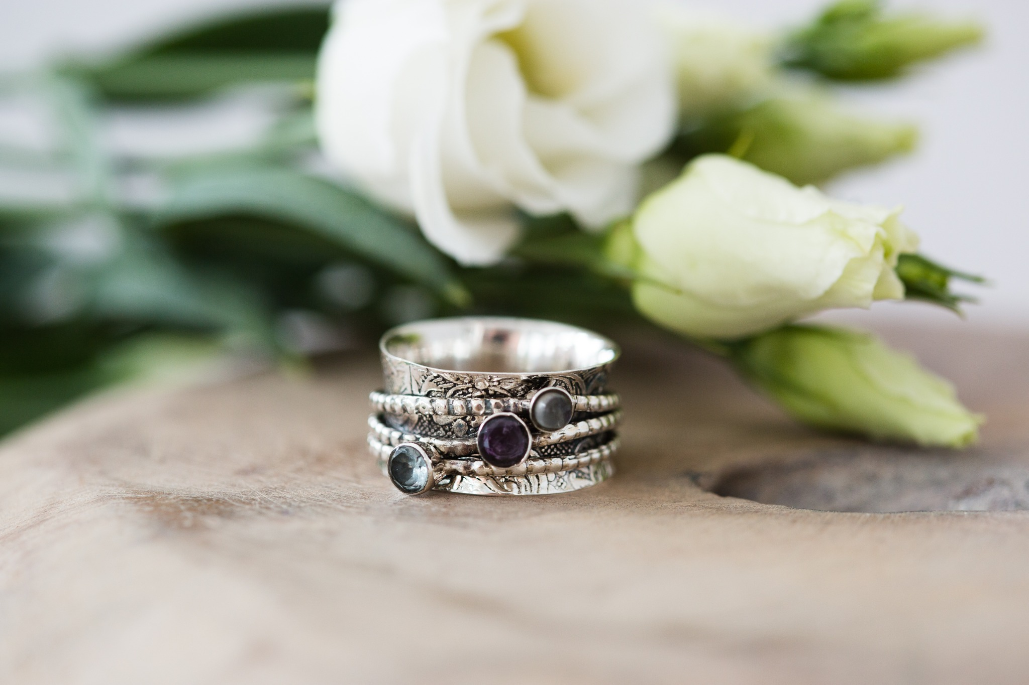 Just Jules 925 Sterling Silver Spinning Ring With Moonstone, Amethyst And Topaz