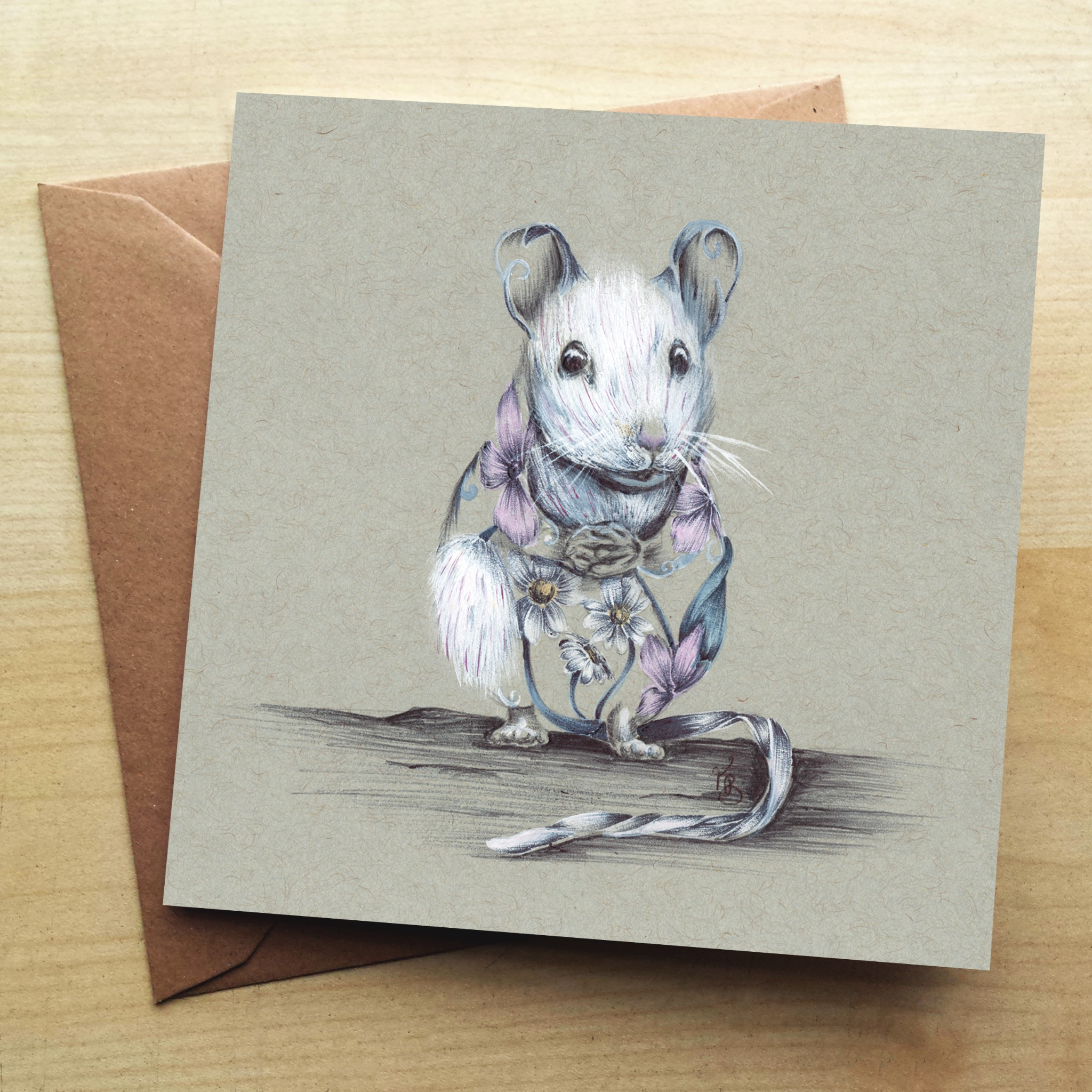 Wraptious Rustic Mouse Greetings Card