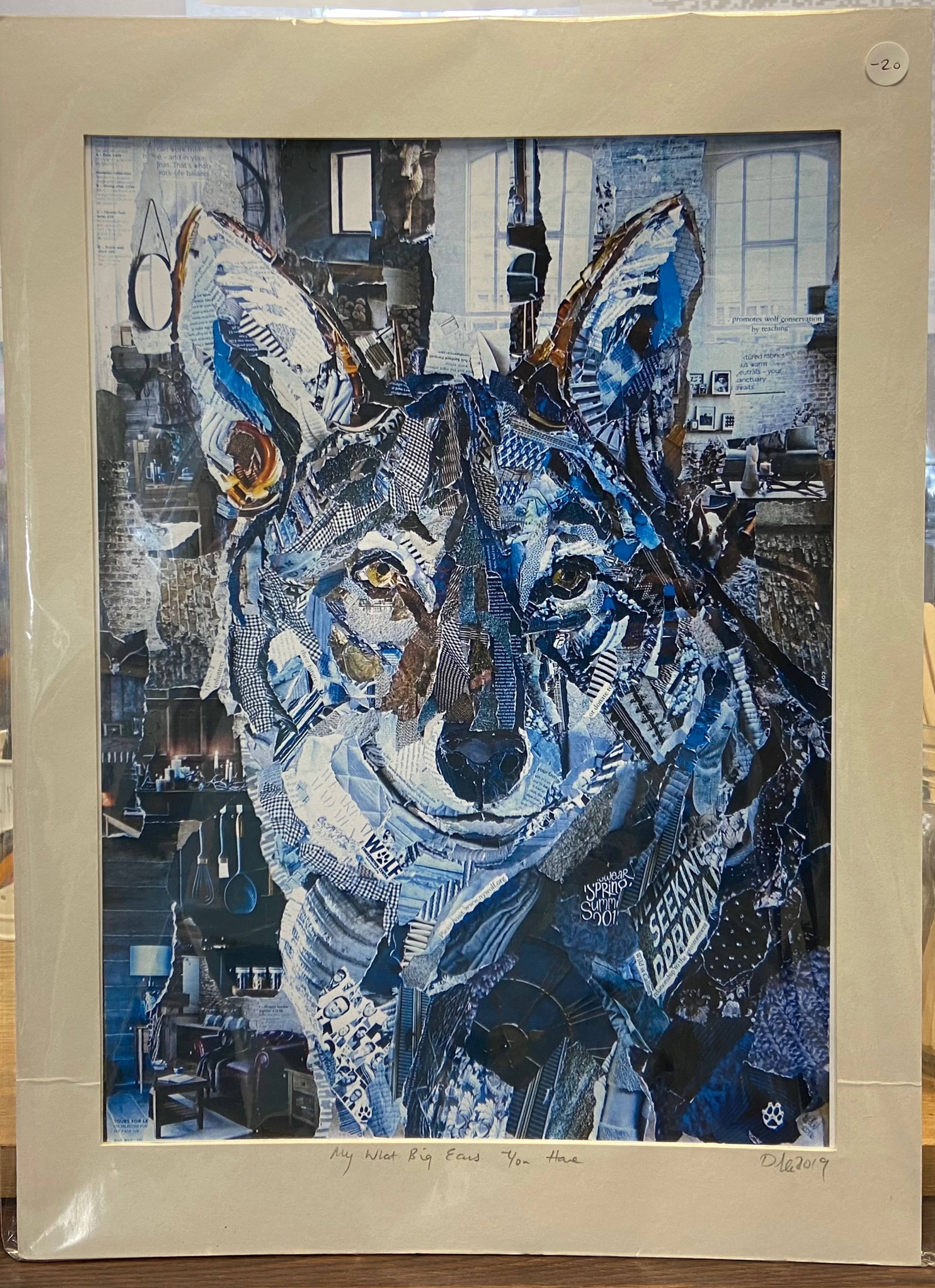 """Danielle Vaughan Mixed Media """"My What Big Ears You Have """" Mounted Art Print 15x11"""