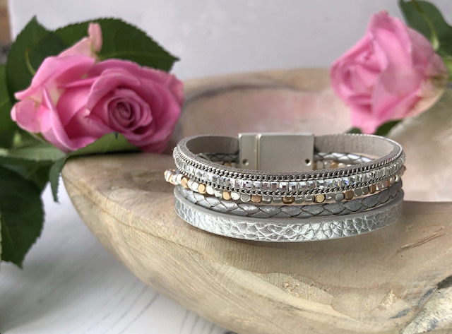 Just Jules Silver Leather Crystals And Beads Bracelet