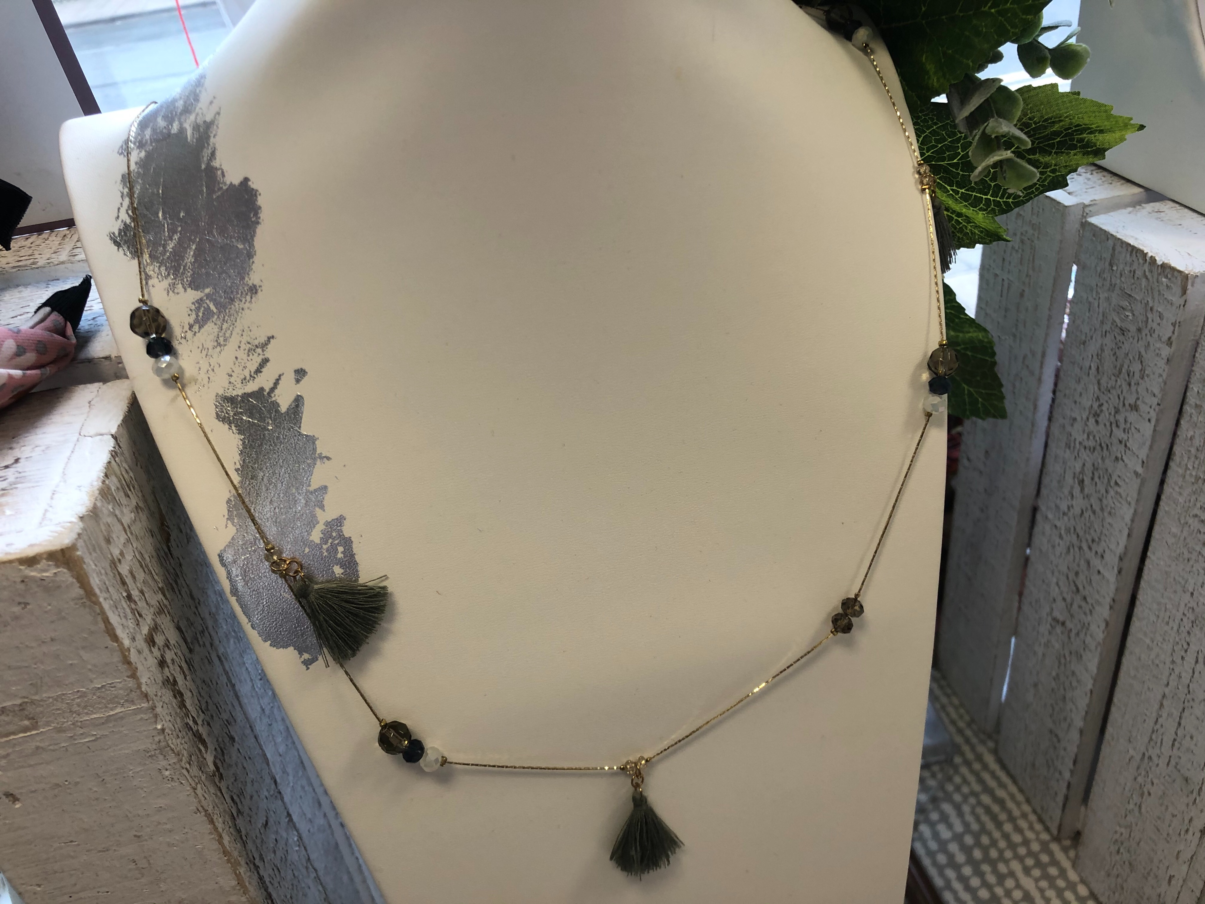 Just Jules Long Tassle Necklace with Gold Chain