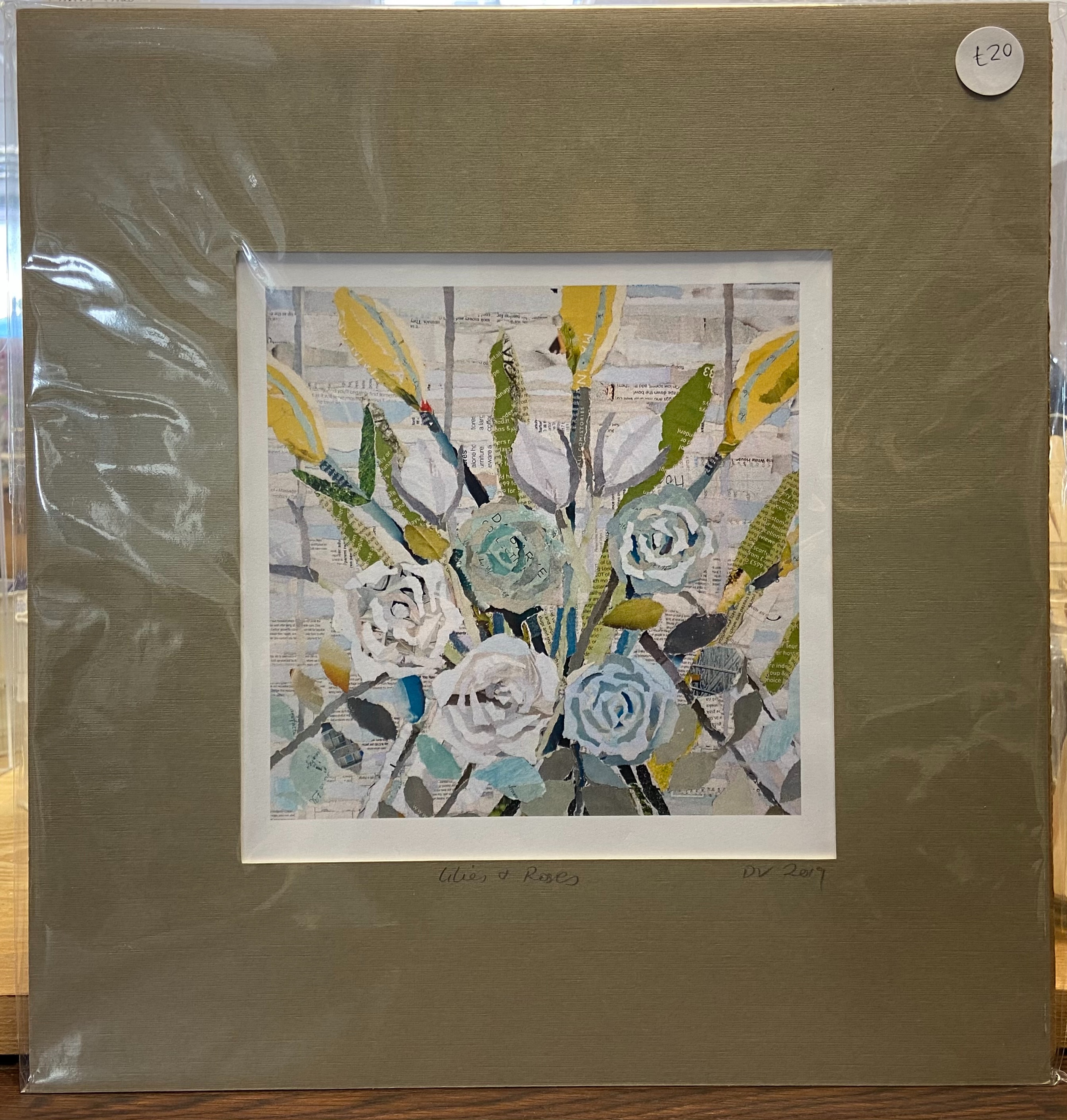 """Danielle Vaughan Mixed Media """"Lilies and Roses"""" Mounted Art Print 12x12"""