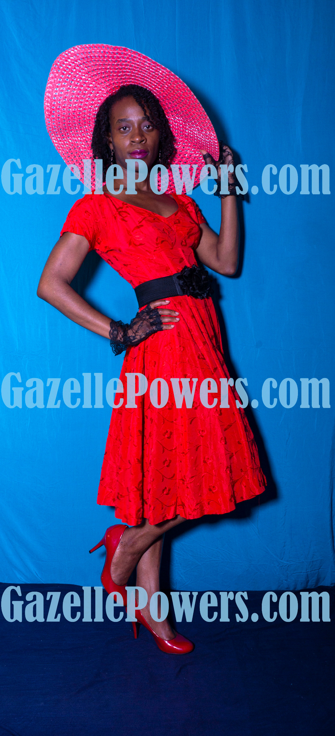 April 18th Session - Vintage Lady in Red Set of 5 Photos