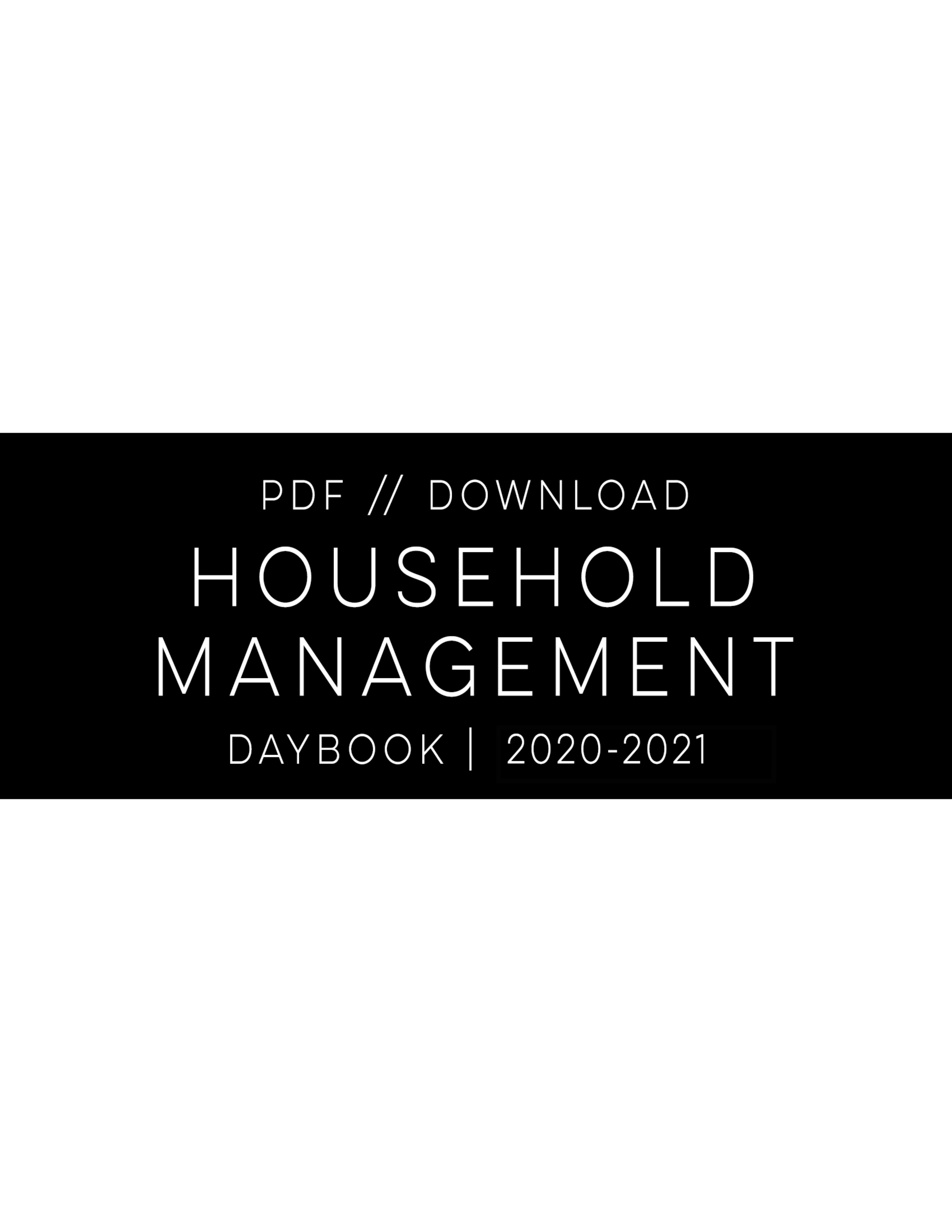 PDF - 2020-2021 DAYBOOK || Household Management