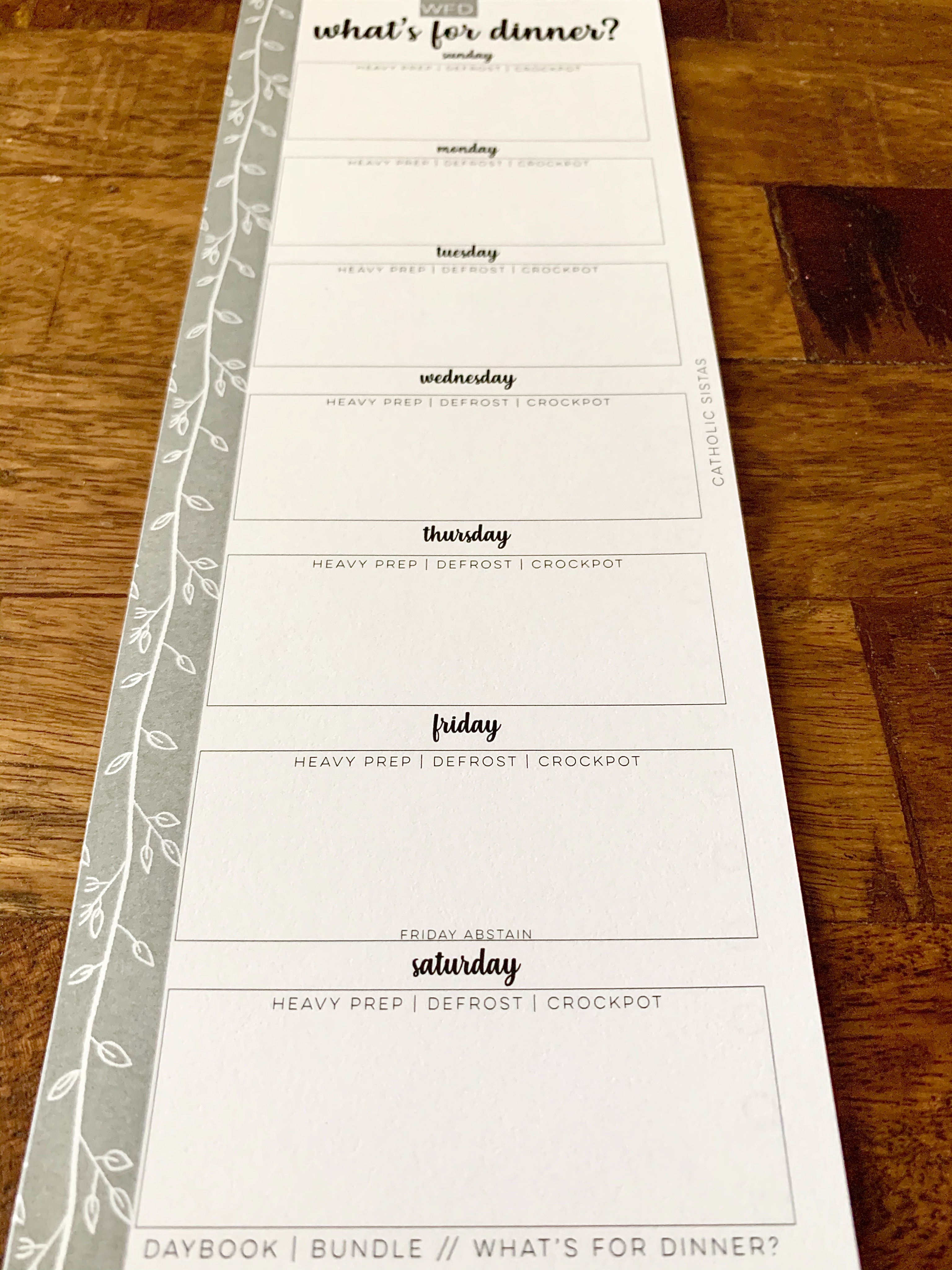 HARD COPY - DAYBOOK || What's For Dinner? Half Sheet
