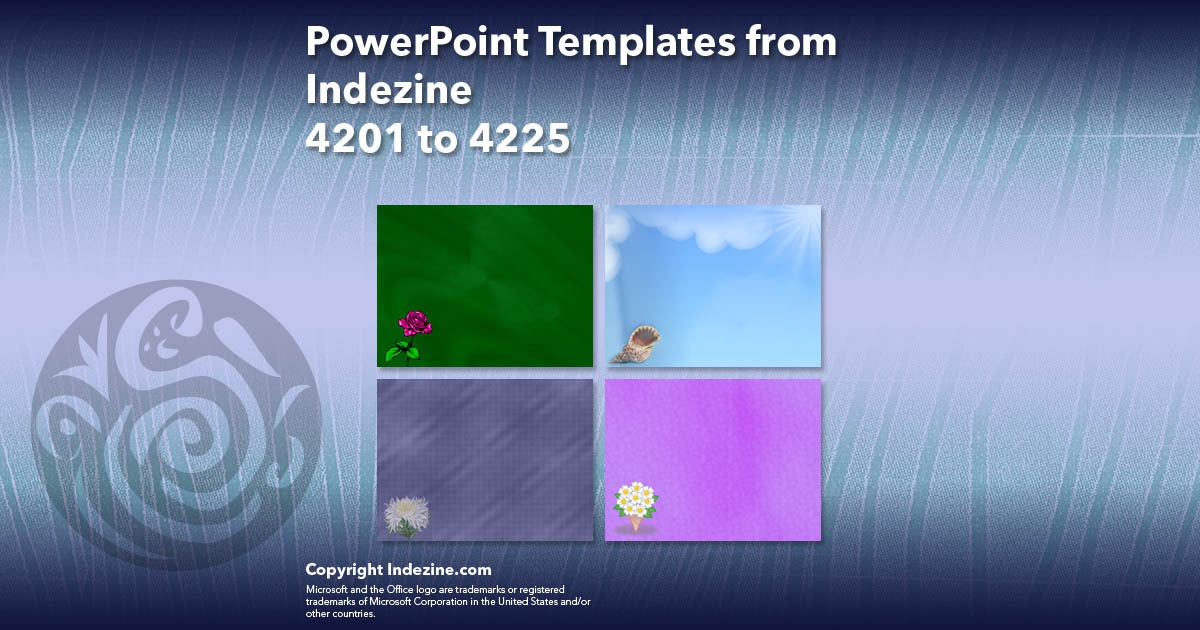 PowerPoint Templates from Indezine 169: Designs 4201 to 4225