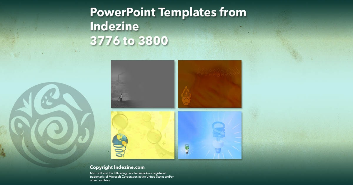 PowerPoint Templates from Indezine 152: Designs 3776 to 3800