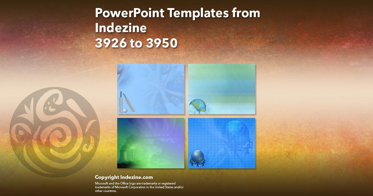 PowerPoint Templates from Indezine 158: Designs 3926 to 3950