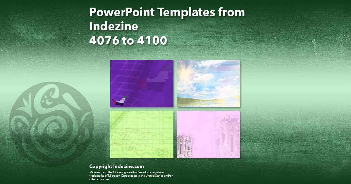 PowerPoint Templates from Indezine 164: Designs 4076 to 4100