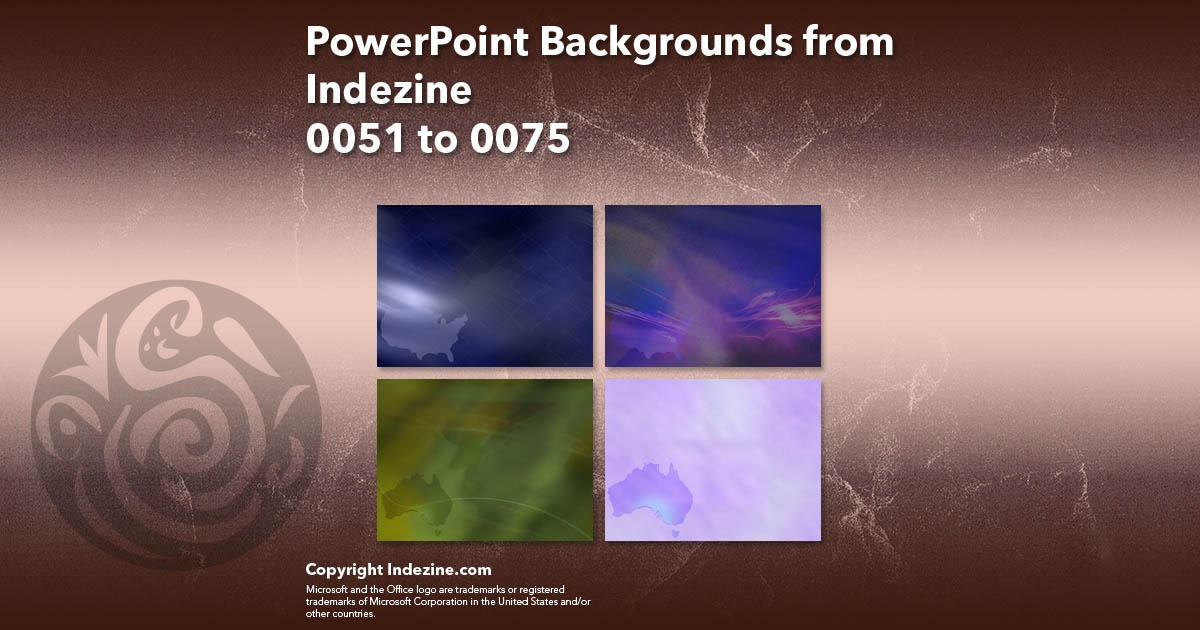 PowerPoint Backgrounds from Indezine 003: Designs 0051 to 0075