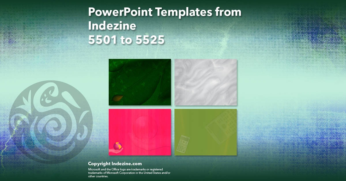 PowerPoint Templates from Indezine 221: Designs 5501 to 5525