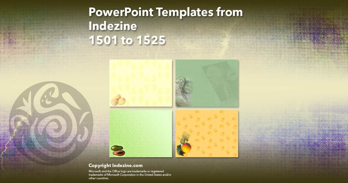 PowerPoint Templates from Indezine 061: Designs 1501 to 1525