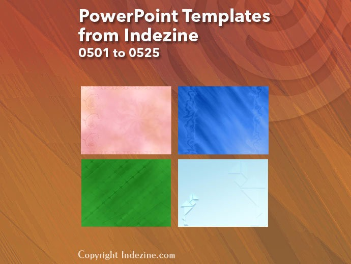 PowerPoint Templates from Indezine 021: Designs 0501 to 0525