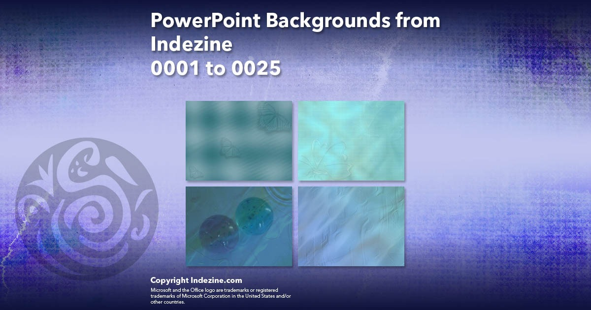 PowerPoint Backgrounds from Indezine 001: Designs 0001 to 0025