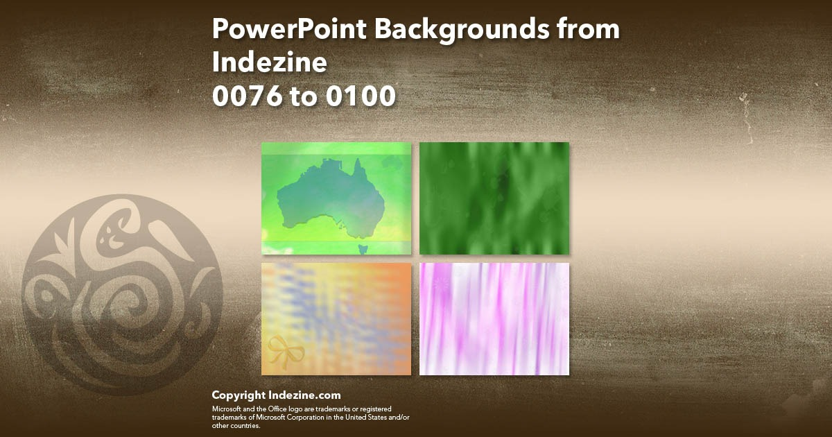PowerPoint Backgrounds from Indezine 004: Designs 0076 to 0100