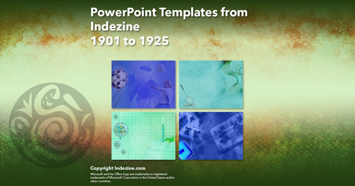 PowerPoint Templates from Indezine 077: Designs 1901 to 1925