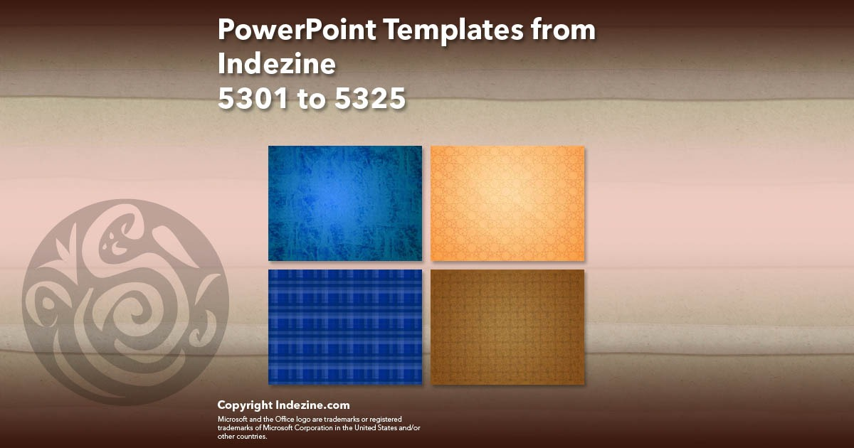 PowerPoint Templates from Indezine 213: Designs 5301 to 5325