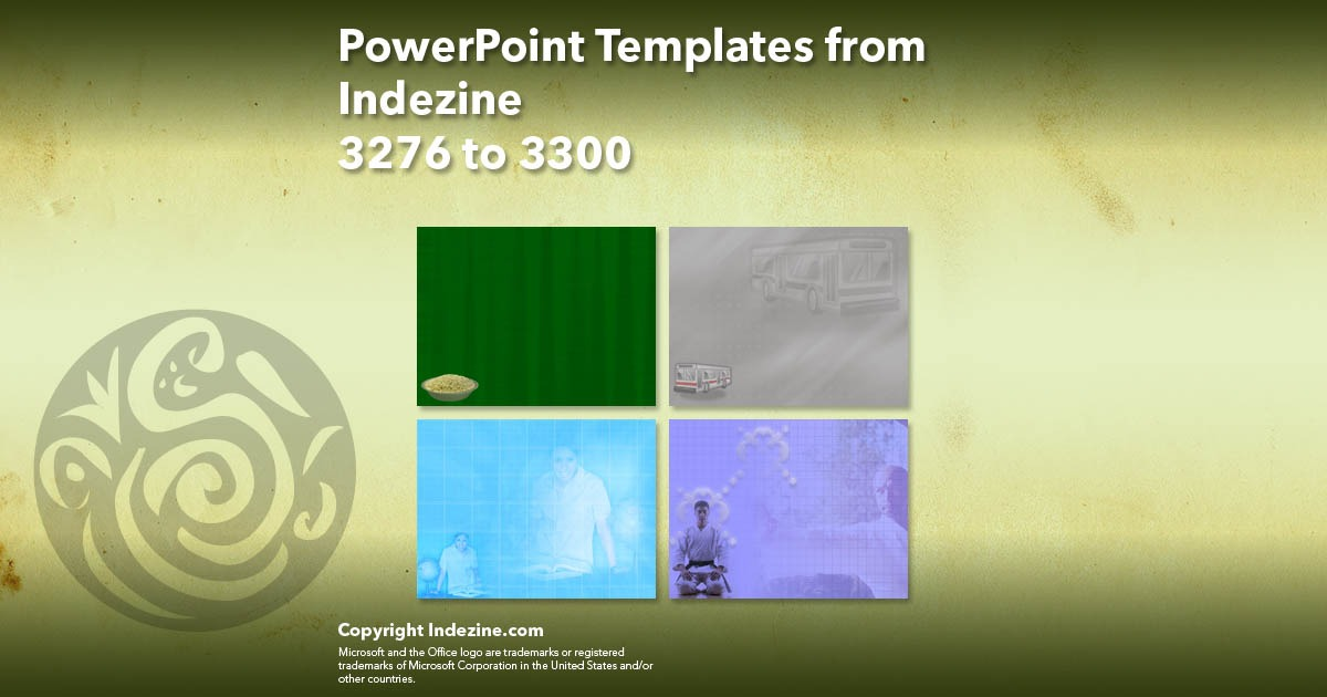 PowerPoint Templates from Indezine 132: Designs 3276 to 3300