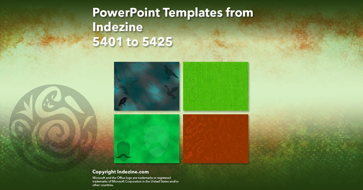 PowerPoint Templates from Indezine 217: Designs 5401 to 5425