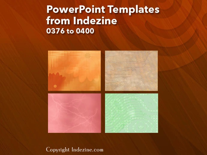 PowerPoint Templates from Indezine 016: Designs 0376 to 0400