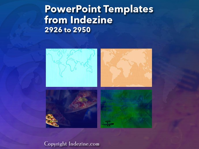 PowerPoint Templates from Indezine 118: Designs 2926 to 2950