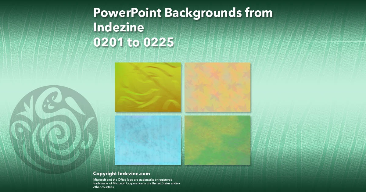 PowerPoint Backgrounds from Indezine 009: Designs 0201 to 0225