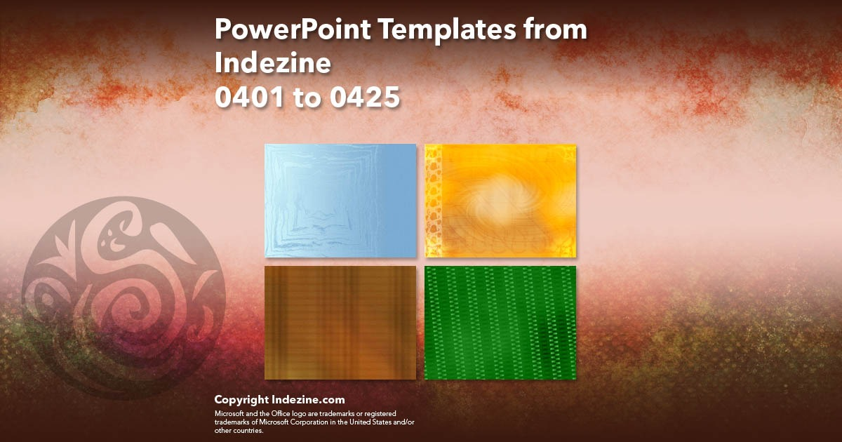 PowerPoint Templates from Indezine 017: Designs 0401 to 0425