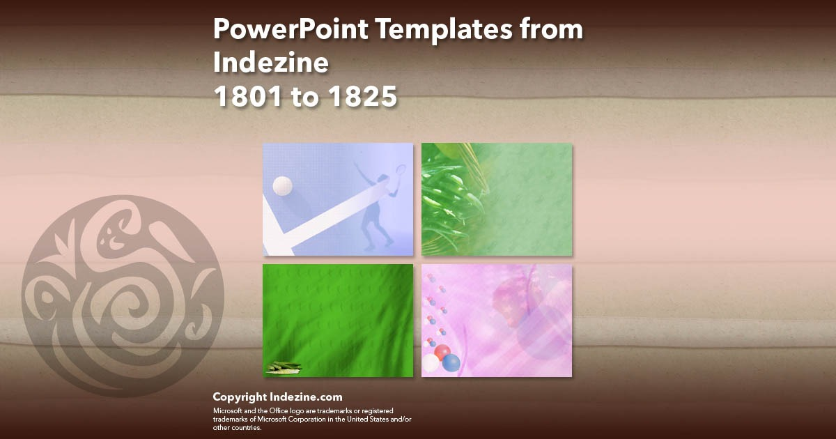 PowerPoint Templates from Indezine 073: Designs 1801 to 1825