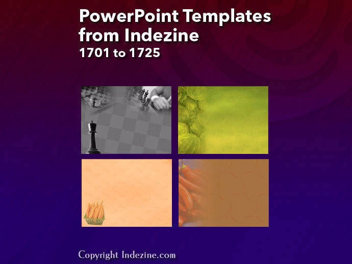 PowerPoint Templates from Indezine 069: Designs 1701 to 1725