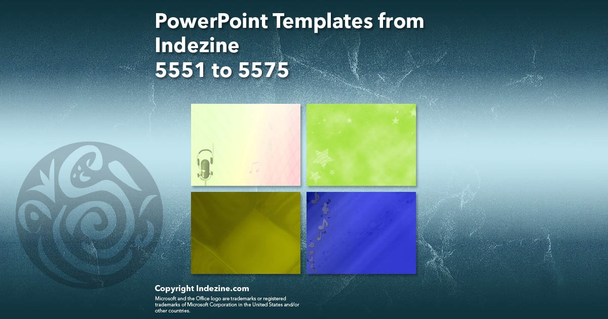 PowerPoint Templates from Indezine 223: Designs 5551 to 5575