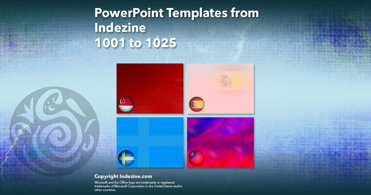 PowerPoint Templates from Indezine 041: Designs 1001 to 1025