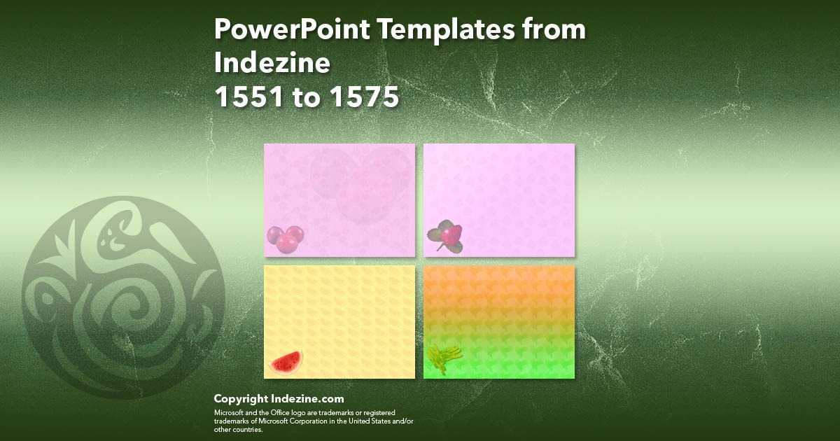 PowerPoint Templates from Indezine 063: Designs 1551 to 1575