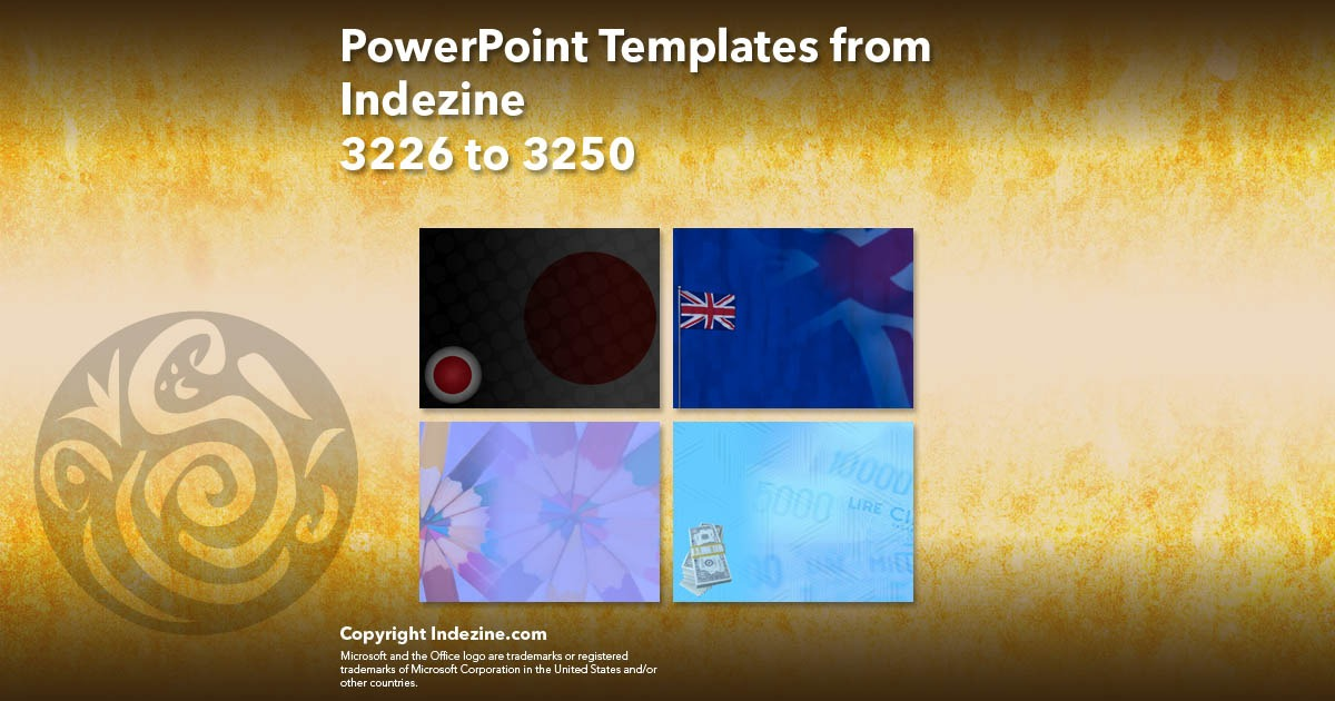 PowerPoint Templates from Indezine 130: Designs 3226 to 3250
