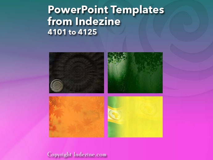 PowerPoint Templates from Indezine 165: Designs 4101 to 4125
