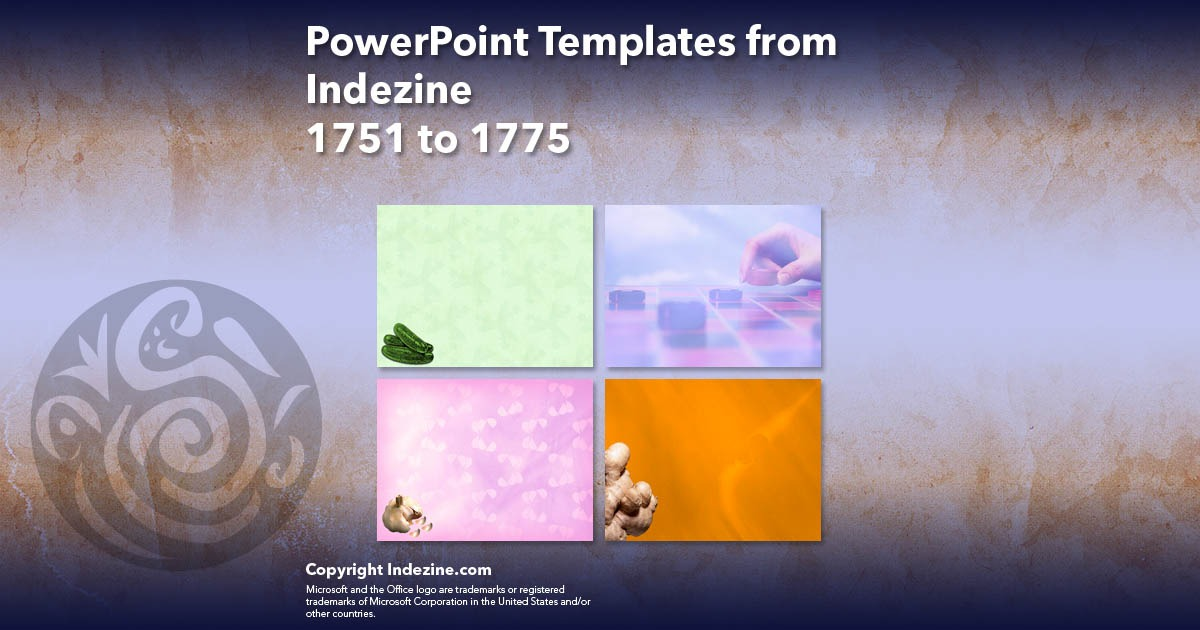 PowerPoint Templates from Indezine 071: Designs 1751 to 1775