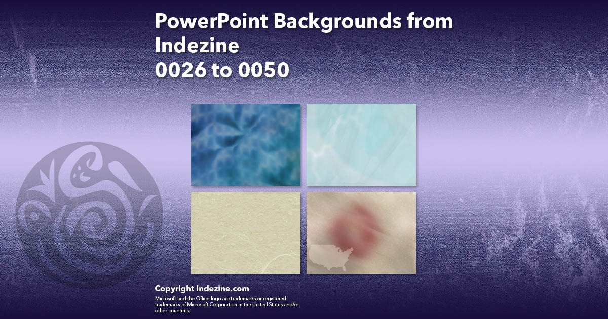 PowerPoint Backgrounds from Indezine 002: Designs 0026 to 0050